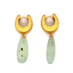 Gold Plated Prehnite Matted Earrings