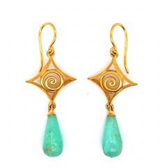Gold Plated Cabochon Chrysoprase Earrings