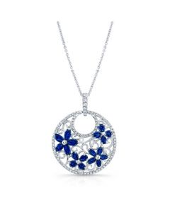 Natural Color White Gold Elegant Sapphire Flower Diamond Pendant