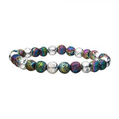 White and Colorful Lava Beads Bracelet