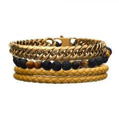 Yellow Leather, Beads and Steel Gold Plated Curb Chain Stackable Bracelet