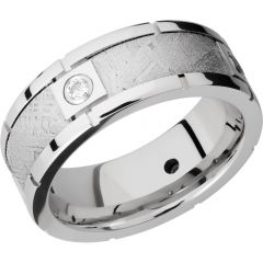 Lashbrook Cobalt Chrome 8mm Beveled Band With Four Segments Bezel-Set With .07Ct White Diamonds In An Inlay Of Authentic Gibeon Meteorite