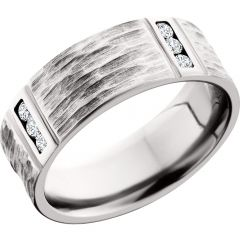 Lashbrook Cobalt Chrome 8mm Flat Band With 4 Segments Featuring .3Ct White Diamond Accents