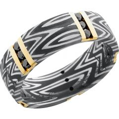 Lashbrook Handmade 7mm Zebra Damascus Steel Band With 5 Vertical Inlays Of 14K Yellow Gold And 15, .04Ct Channel-Set Black Diamonds