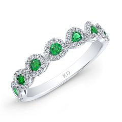 Natural Color White Gold Inspired Emerald Twisted Diamond Band