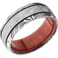 Lashbrook Handmade 8mm Damascus Steel Domed Band With An Inlay Of Authentic Gibeon Meteorite And A Hardwood Sleeve Of Padauk