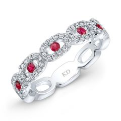 Natural Color White Gold Inspired Ruby Diamond Twisted Band