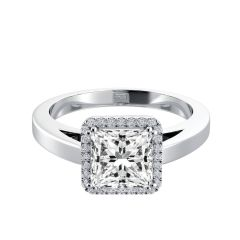 Square Halo Princess Cut Diamond Engagement Ring