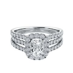 Triple Shank Radiant Halo Diamond Engagement Ring
