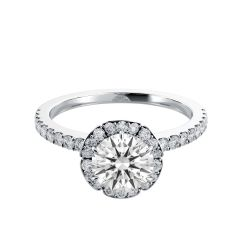 Pave-Set Diamond Halo Engagement Ring