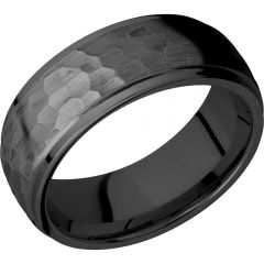 Lashbrook Zirconium 8mm Domed Band With Grooved Edges