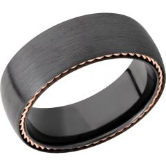 Lashbrook Zirconium 8mm Domed Band With 14K Rose Gold Sidebraid Edging
