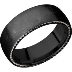 Lashbrook Zirconium 8mm Domed Band With Sterling Silver Sidebraid Edging