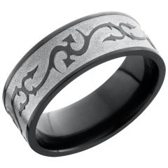 Lashbrook Zirconium 8mm Flat Band With A Laser-Carved Thorn Pattern