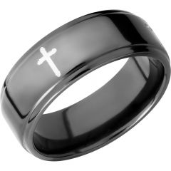 Lashbrook Zirconium 8mm Flat Band With Grooved Edges And A Laser-Carved Cross Pattern