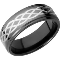 Lashbrook Zirconium 8mm Flat Band With A Laser-Carved Celtic Pattern