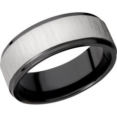 Lashbrook Zirconium 8mm Flat Band With Grooved Edges
