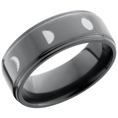 Lashbrook Zirconium 8mm Flat Band With A Laser-Carved Moon Phase Pattern
