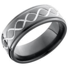 Lashbrook Zirconium 8mm Flat Band With A Laser-Carved Tall Infinity Pattern