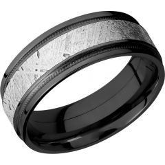 Lashbrook Zirconium 8mm Flat Band With Reverse Milgrain And An Inlay Of Authentic Gibeon Meteorite