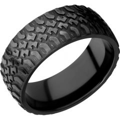Lashbrook Zirconium 9mm Domed Band With A Laser-Carved Truck Pattern