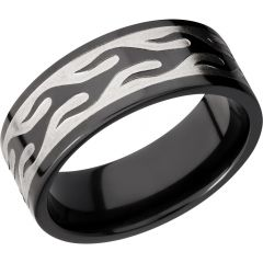 Lashbrook Zirconium 9mm Flat Band With A Laser-Carved Contour Flame Pattern
