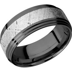 Lashbrook Zirconium 9mm Flat Band With Two Steps And An Inlay Of Authentic Gibeon Meteorite