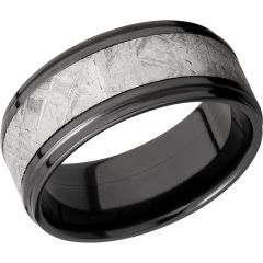 Lashbrook Zirconium 9mm Flat Band With An Inlay Of Authentic Gibeon Meteorite