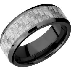 Lashbrook Zirconium 8mm Beveled Band With A 5mm Inlay Of Silver Carbon Fiber