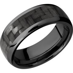 Lashbrook Zirconium 8mm Domed Band With A 5mm Inlay Of Black Carbon Fiber