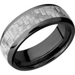 Lashbrook Zirconium 8mm Domed Band With A 5mm Inlay Of Silver Carbon Fiber