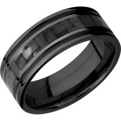Lashbrook Zirconium 8mm Flat Band With A 3mm Inlay Of Black Carbon Fiber And 2, 1mm Inlays Of Cerakote