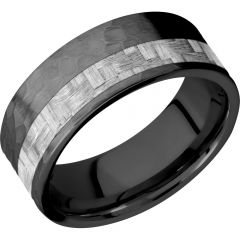 Lashbrook Zirconium 8mm Flat Band With A 3mm Off-Centered Inlay Of Silver Carbon Fiber