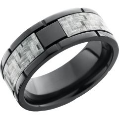 Lashbrook Zirconium 8mm Flat Band With Segment Details And A 4mm Inlay Of Silver Carbon Fiber