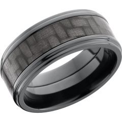 Lashbrook Zirconium 9mm Flat Band With Grooved Edge And A 5mm Inlay Of Black Carbon Fiber