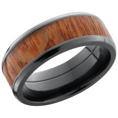 Lashbrook Zirconium 8mm Beveled Band With An Inlay Of Leopard Hardwood