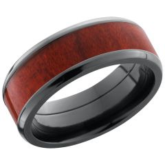 Lashbrook Zirconium 8mm Beveled Band With An Inlay Of Honduras Redheart Hardwood