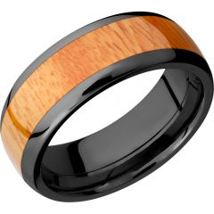 Lashbrook Zirconium 8mm Domed Band With An Inlay Of Osage Orange Hardwood