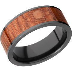 Lashbrook Zirconium 8mm Flat Band With An Inlay Of Leopard Wood
