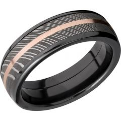 Lashbrook Zirconium Domed 7mm Band With A 5mm Inlay Of Handmade Damascus Steel And A 1mm Inlay Of 14K Rose Gold