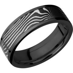Lashbrook Zirconium Flat 7mm Band With A 5mm Inlay Of Handmade Flattwist Damascus Steel